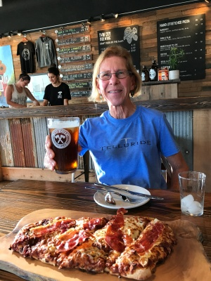 Mom throwing back a pint at Twin Cities Brewery