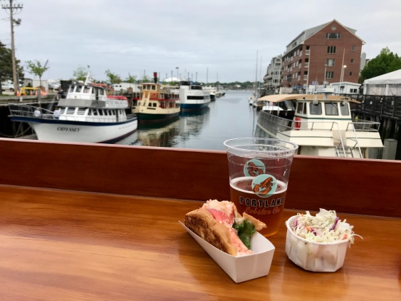 Excellent lobster roll, beer and live music at the Lobster Company on the Portland waterfront.